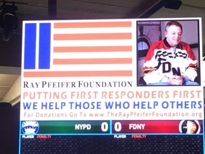 Before the puck was dropped at the FDNY vs. NYPD hockey game at MSG today, there was a special presentation made to The Ray Pfeifer Foundation.