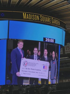 Thanks to Frank Heal, Derek Kern, Tom Reno and the rest of the FDNY Hockey Team for their tremendous $15,000 donation! Chris Howard, Rob Serra and Brian McGuire from our RPF board were on hand to accept the big check.