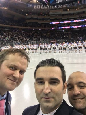 Chris, Rob and Brian, from our Ray Pfeifer Foundation, spread the RPF message at MSG. First responders helping first responders.