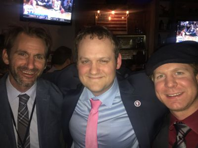 Our RPF VP Christopher Howard, also the FDNY Hockey Team's goalie coach, celebrates after the win with the two goalies - Shawn Mullen and Kurt Pflumm.