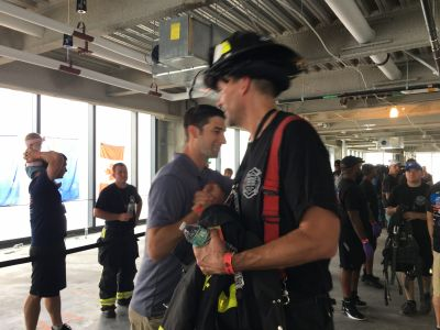 Our RPF President Craig Paupst congratulated NYC Memorial Stair Climb Cofounder Chris Barber after he climbed the 80 flights.