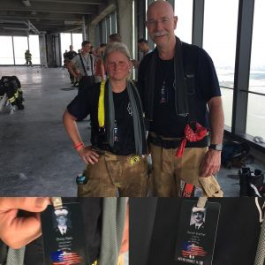 Meet Captain Ramona Mansfield of the Avon Fire Department in Avon, CT and Firefighter Ken Boudreau of the Simsbury Fire Department in Simsbury, CT. She's a first time NYC climber and he's a fourth timer. Ramona proudly wore the name of Lt. Philip Petti (Battalion 7). Ken climbed in honor of Captain Daniel Brethel (Ladder 24).