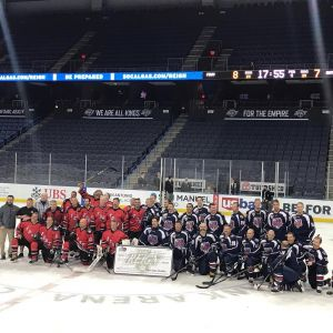 We had such a great night with the Ontario Fire Hockey Club, FDNY Hockey Team (Alumni) and their families in California. Thanks to the Ontario Reign and everyone who came out to help us help our first responders who are sick with 9/11 illnesses. Frank Heal (FDNY Hockey Alumni) and Ed Nichols (Ontario Fire) were our stars of the game for organizing the event! A $10,000 donation was presented to our RPF board member Rob Serra. WOW!