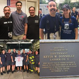 Chief Larry Whithorn, his wife Laura, and Chief Segalla came to NYC from the West Covina Fire Department in California. Chief W climbed in honor of of Lt. Kevin W. Donnelly from Ladder Company 3.