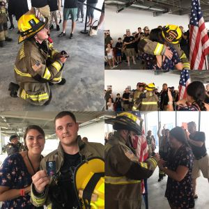 "After he finished climbing in honor of Captain Brian Hickey (Rescue 4), Matt Gillmore popped the question to Alysha. Matt's a firefighter in Parkertown, NJ. He's deaf, has a cochlear implant and is also a motivational speaker. (Of course she said, ""YES!"")"