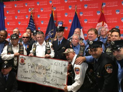 Thanks to the NYC Fire Riders for their generous donation today at Ray's plaque dedication. More first responders helping first responders.