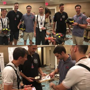 Meet Luca Pison and Jonathan Lentini. They are the first firefighters from Italy to come do the climb. Luca, Chris Barber (NYC Stair Climb), Craig Paupst (RPF) and Jonathan talked helmets, turnout coats and more. Jonathan climbed in honor of Lt. Robert B. Nagel of Engine 58. Luca represented represented FF John Patrick Tierney of Ladder 9.