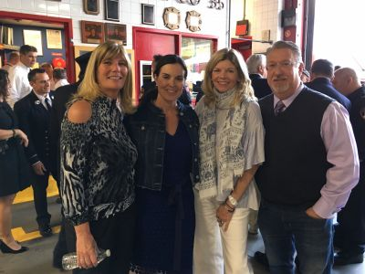 Marion Otten Pfeifer, Amy Freeze, Maryellen Pfeifer McKee and Marc Bromfeld meet after the Edrington check presentation.