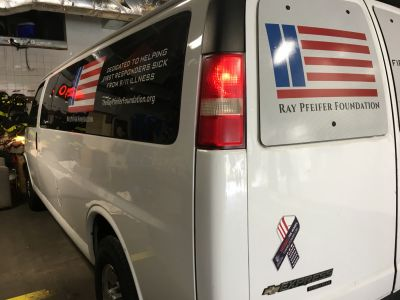 The Ray Pfeifer Foundation van was all packed up and ready for its first road trip.